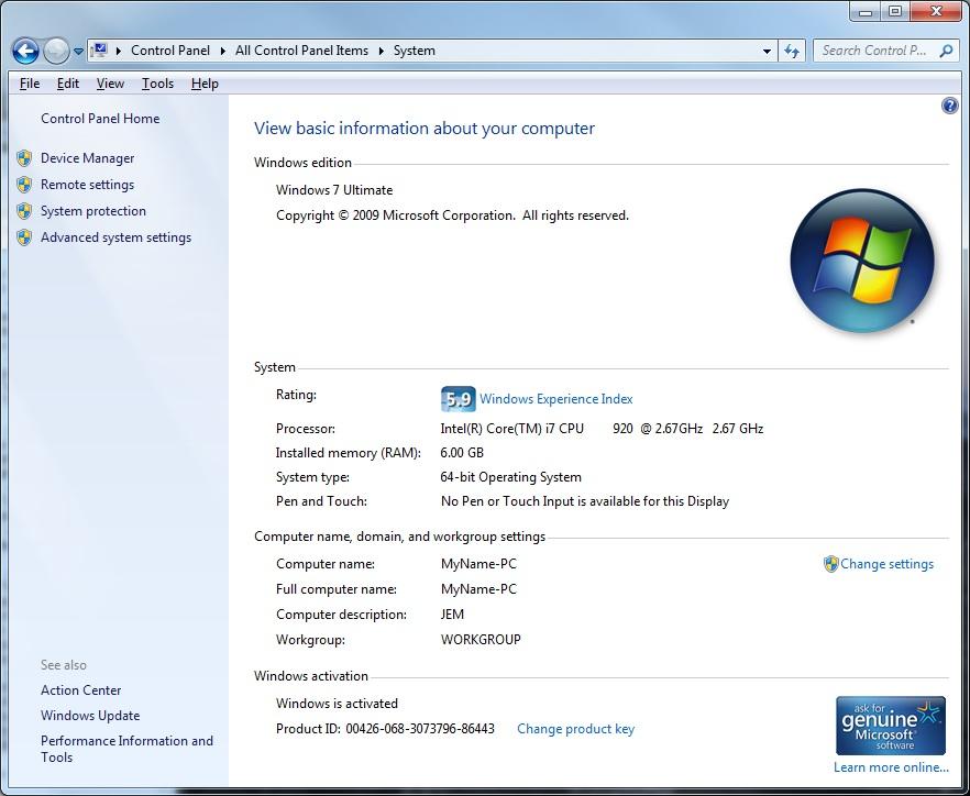 c777b633ff6b Finding Windows 7 Basic System Information - Top Hat Techs